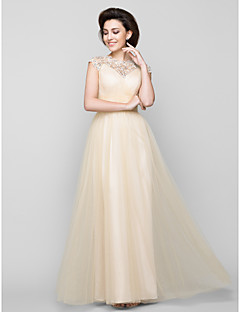 Lanting Bride® A-line Mother of the Bride Dress Floor-length Sleeveless Tulle with Beading / Criss Cross