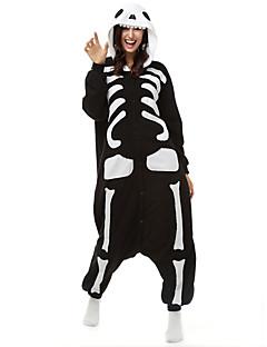 Kigurumi Pyjamas Skelett Gymnastikanzug/Einteiler Fest/Feiertage Tiernachtwäsche Halloween Schwarz/Weiß Druck Polar-Fleece Kigurumi Für