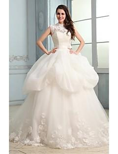 Ball Gown Wedding Dress - White Chapel Train High Neck Organza