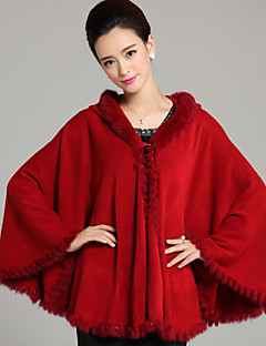 Fur Coats / Hoods & Ponchos / Wedding  Wraps Capes Sleeveless Faux Fur / Imitation Cashmere Black / Burgundy / Ruby / Royal Blue / Purple