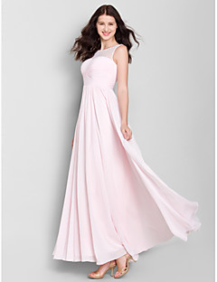 Lanting Bride® Ankle-length Chiffon Bridesmaid Dress A-line Scoop with Lace / Criss Cross