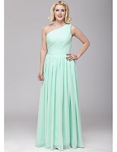 Floor-length Chiffon Bridesmaid Dress - A-line One Shoulder with Sash / Ribbon / Side Draping