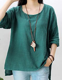 Mulheres Blusa Casual Simples Outono,Sólido Vermelho / Branco / Verde Decote Redondo Manga Longa Média