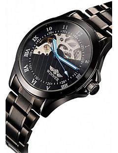 WINNER 男性 リストウォッチ 機械式時計 透かし加工 自動巻き ステンレス バンド ラグジュアリー ブラック