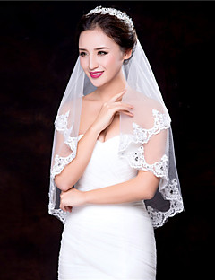 Wedding Veil One-tier Fingertip Veils Lace Applique Edge / Beaded Edge
