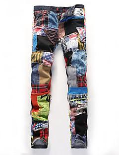 Men's Print / Striped / Plaids & Checks Sleeveless Pant , Cotton Casual / Work / Sport / Plus Sizes  ailanting