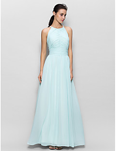 Lanting Bride® Floor-length Chiffon Bridesmaid Dress - Sheath / Column Jewel with Draping