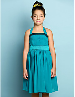 Knee-length Chiffon Junior Bridesmaid Dress - Mini Me A-line Halter with Draping