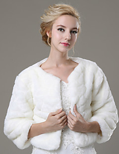 Fur Coats Shrugs 3/4-Length Sleeve Faux Fur Ivory Wedding / Party/Evening / Casual Open Front
