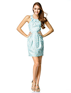 TS Couture® Cocktail Party Dress - Print Sheath/Column Jewel Short/Mini Satin