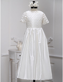 A-line Ankle-length Flower Girl Dress - Lace / Charmeuse Short Sleeve Jewel with Lace