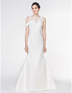 Lan Ting - Trumpet/Mermaid Wedding Dress - Ivory Watteau Train Bateau Chiffon / Lace