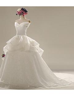 A-라인 웨딩 드레스 채플 트레인 스윗하트 레이스 / 새틴 와 레이스