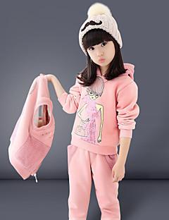 Mädchen Kleidungs Set Druck Baumwolle / Baumwollmischung Winter Rosa / Rot
