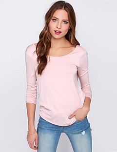 婦人向け ラウンドネック スリット / バックレス Tシャツ , コットン 長袖