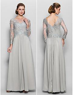 Lanting a-linje mor til bruden kjole - sølv fotsid langermet chiffon / blonder