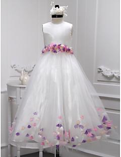 A-line Floor-length Flower Girl Dress - Taffeta / Tulle Sleeveless