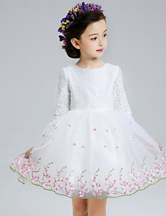 A-line Short / Mini Flower Girl Dress - Lace / Organza 3/4 Length Sleeve Jewel with
