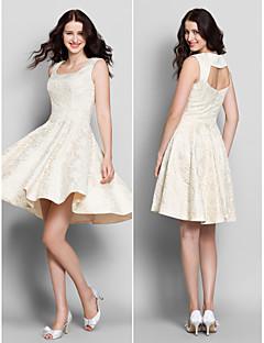 Lanting knælange blonder brudepige kjole - elfenben a-line firkantet
