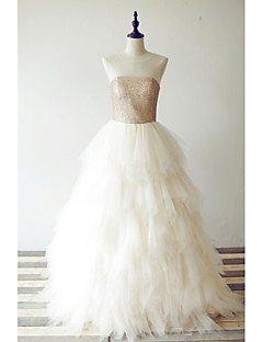 포멀 이브닝 드레스 A-라인 스쿱 바닥 길이 튤 / 스팽글 와 주름장식