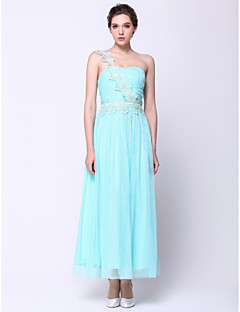 저녁 정장파티 드레스 - 스카이 블루 A라인 발목 길이 원 숄더 쉬폰