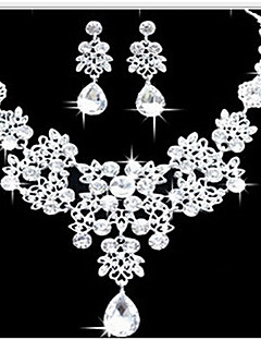 Жен. Набор украшений Серьги Длинные ожерелья Мода Двойной слой Массивные украшения бижутерия Искусственный бриллиант Свисающие Серьги