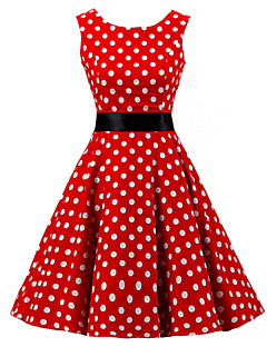 Women's Going out Vintage / Cute A Line / Skater Dress,Polka Dot Round Neck Knee-length Sleeveless Red Cotton Spring / Summer High Rise