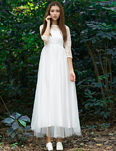 Ankle-length Lace / Taffeta / Tulle Bridesmaid Dress - White Ball Gown Jewel