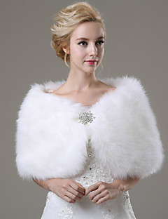 Wedding  Wraps / Fur Wraps Shawls Sleeveless Faux Fur Ivory Wedding / Party/Evening / Casual Rhinestone Clasp