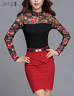 Blusa Da donna Casual Semplice Autunno,Con stampe / Collage Colletto increspato Cotone / Poliestere Rosa / Rosso Manica lungaMedio