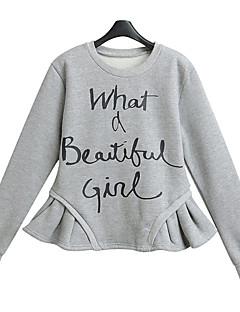 Korelinda ® Women's Letter Gray Hoodies , Vintage /Cute / Party / Plus Sizes Round Neck Long Sleeve895