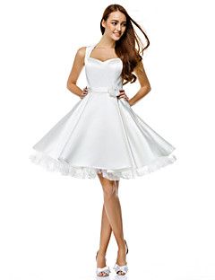 TS Couture® Cocktail Party Dress - Ivory A-line Sweetheart Knee-length Satin