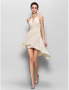 Lanting Bride® Chiffon Bridesmaid Dress - Sheath / Column Halter with Draping