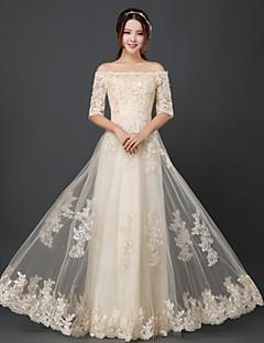 Floor-length Tulle Bridesmaid Dress A-line Bateau with Ruffles