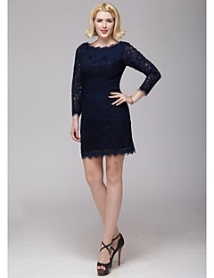 Sheath/Column Mother of the Bride Dress - Dark Navy Short/Mini Lace