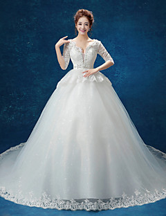 Ball Gown Wedding Dress Cathedral Train V-neck Lace / Tulle with Ruffle