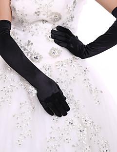Até o Cotovelo Com Dedos Luva Elastano Luvas de Noiva / Luvas de Festa Primavera / Verão / Outono / Inverno