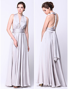 TS Couture Prom / Military Ball / Formal Evening Dress - Silver Plus Sizes / Petite A-line Straps Floor-length Satin Chiffon