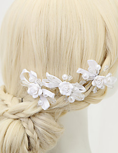 Women's / Flower Girl's Alloy / Imitation Pearl / Polyester Headpiece - Wedding / Special Occasion Hair Pin 3 Pieces