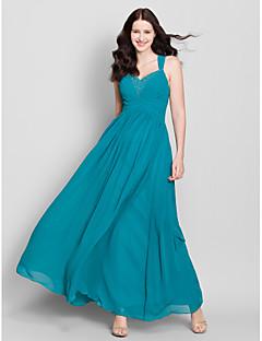 Lanting Bride® Földig érő Sifon Koszorúslány ruha - A-vonalú Pántos val vel Gyöngydíszítés / Cakkos