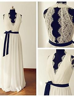 웨딩 드레스 - 아이보리(색상은 모니터에 따라 다를 수 있음) A 라인 스위프/브러쉬 트레인 V 넥 쉬폰 / 레이스