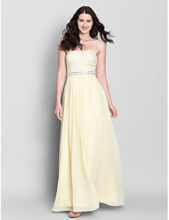 Lanting Bride Ankle-length Chiffon Bridesmaid Dress A-line Strapless with Lace / Sequins
