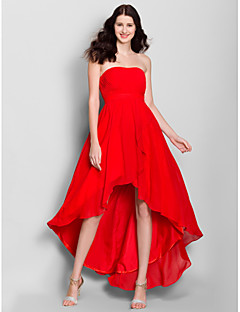 A-Line Strapless Asymmetrical Chiffon Bridesmaid Dress with Side Draping by LAN TING BRIDE®