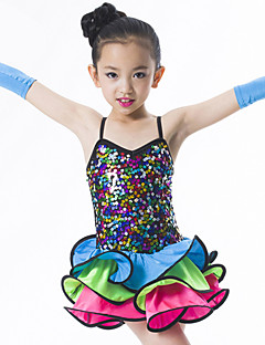 Latin Dance Outfits Women's Performance Rayon / Spandex / Polyester Sequins 3 Pieces Multi-color