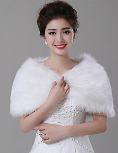 Wedding  Wraps Capelets Sleeveless Faux Fur White Wedding Feathers / fur Pullover