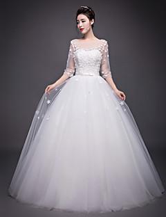 A-line Wedding Dress Floor-length Jewel Organza with Beading / Flower / Sash / Ribbon