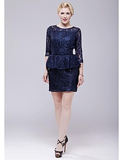 Cocktail Party Dress - Dark Navy Sheath/Column Scoop Short/Mini Lace