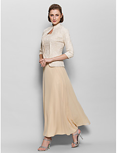 A-Line High Neck Ankle Length Chiffon Lace Mother of the Bride Dress with Lace by LAN TING BRIDE®