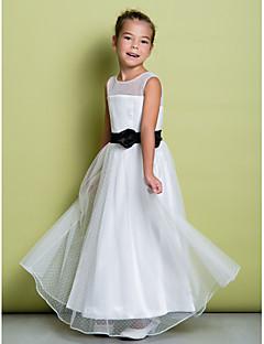 Lanting Bride A-line Floor-length Flower Girl Dress - Tulle Sleeveless Jewel with