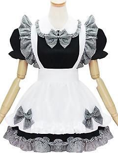 svartvit polyester piga kostym typ2